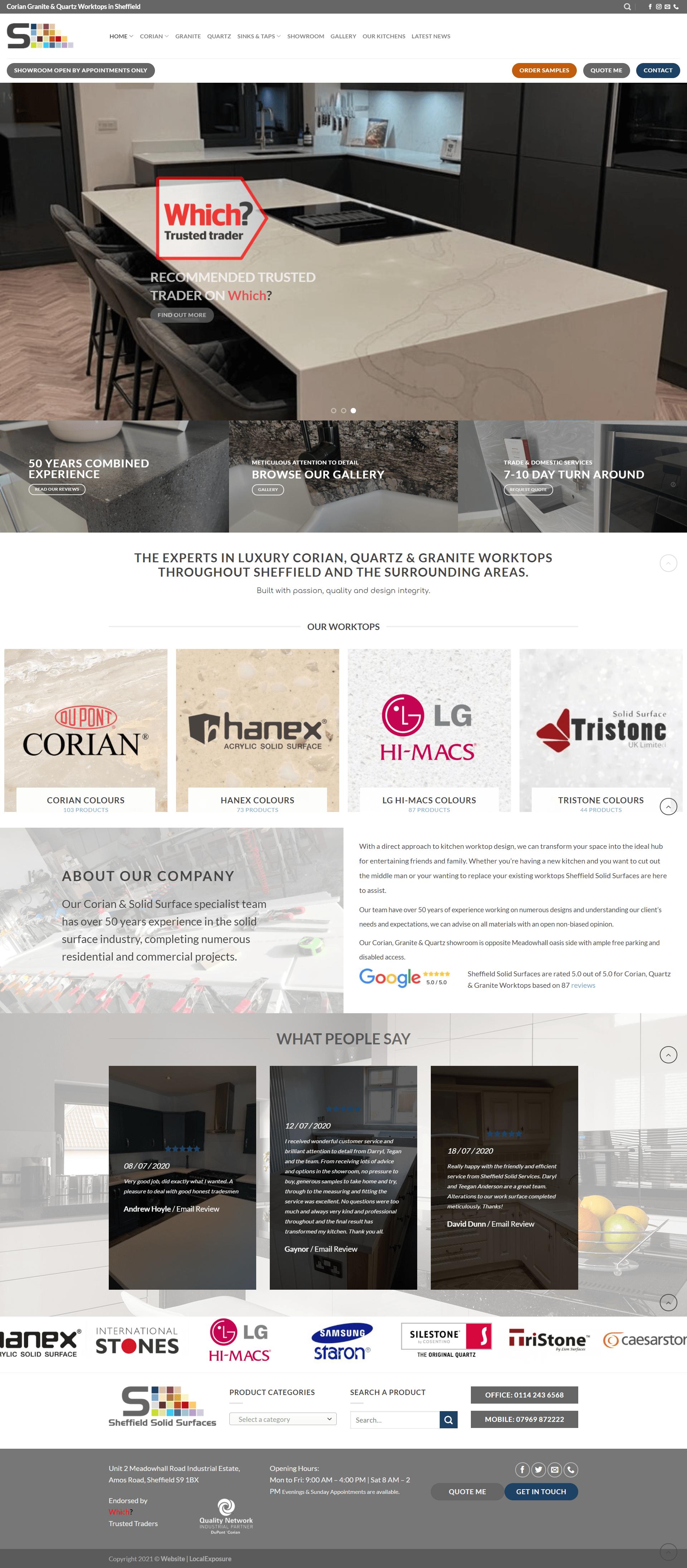 Kitchen Showroom Web Design Example